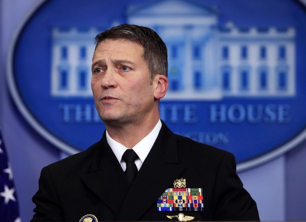White House physician Dr. Ronny Jackson speaks to reporters Tuesday during the daily press briefing in the Brady press briefing room at the White House, in Washington.