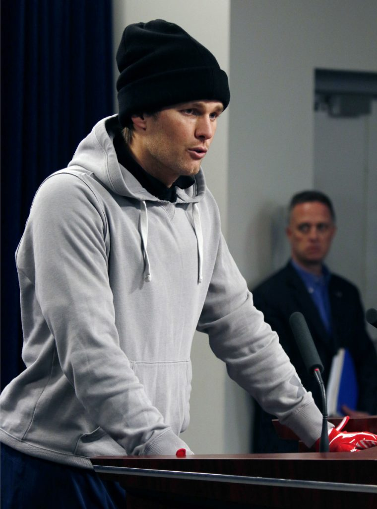 New England Patriots quarterback Tom Brady speaks to the media Friday in Foxborough, Masschusetts.