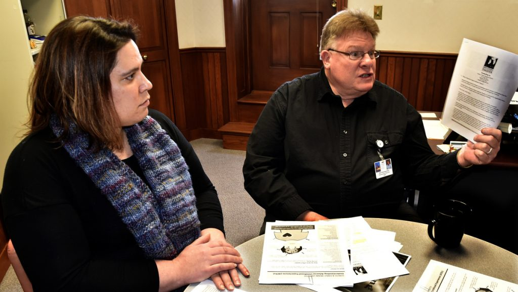 Somerset Public Health drug-free community program coordinator Danielle Denis and community health educator Bill Primmerman discuss the theatrical program to be funded by a grant that is intended to spread awareness of the effects of adverse childhood experiences.