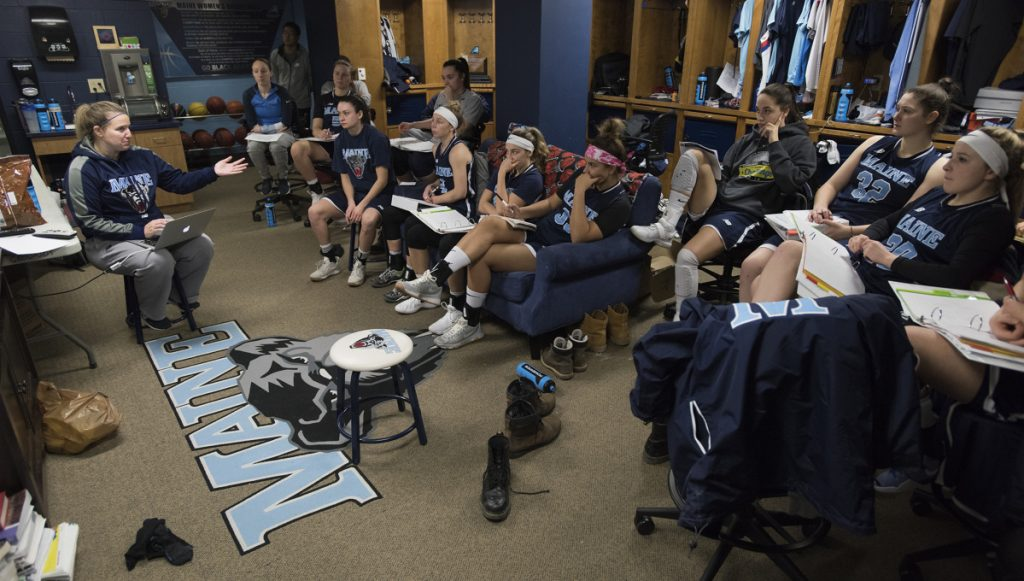 University of Maine women's basketball coach Amy Vachon talks with players before a film session on Jan. 8 in Orono.