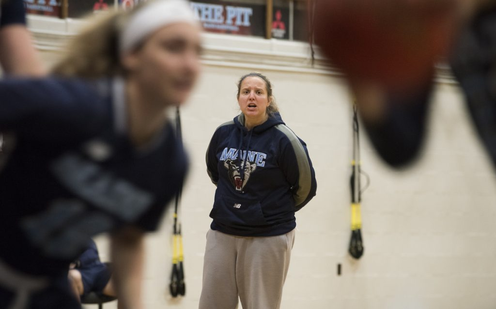 University of Maine interim women's basketball coach Amy Vachon watches a recent practice in Orono.
