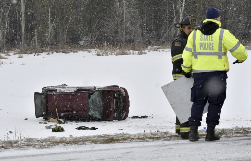 State police and Skowhegan police and firefighters responded to the accident that left a burned truck overturned on the ice of a small pond along Route 2 in Skowhegan early Monday. A pregnant woman died in the accident and the baby was reportedly delivered by C-section after the accident.
