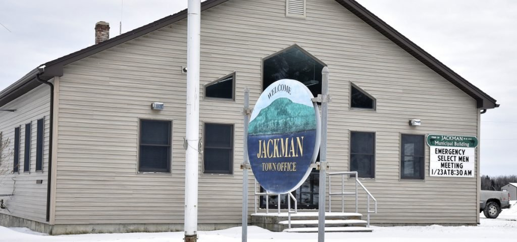 The Jackman Town Office displays a sign Monday announcing an emergency selectmen's meeting for 8:30 a.m. Tuesday to address the status of Town Manager Thomas Kawczynski.