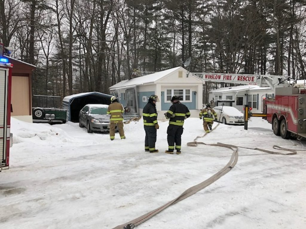 Winslow firefighters used a ladder truck Tuesday to reach the roof of a mobile home in the Pleasant Ridge Mobile Home Park on Benton Avenue in Winslow and remove a faulty smoke pipe that had started a smoky fire.