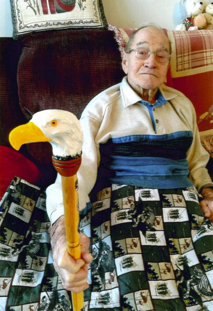 Erwin Tyler, 96, of Winslow, was recently presented the Eagle Cane at a dinner held in his honor.