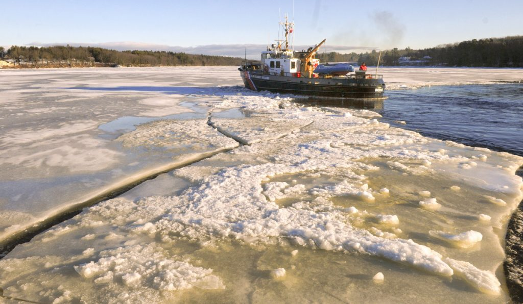 The USCGC Bridle breaks ice Wednesday on the Kennebec River just south of Chop Point in Woolwich.