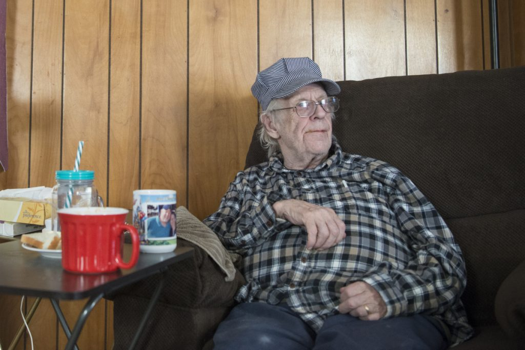 Richard Sukeforth sits for a portrait Friday, Jan. 26, at his daughter's mobile home in Holden. Sukeforth has been living there since he was evicted from his home in 2015.