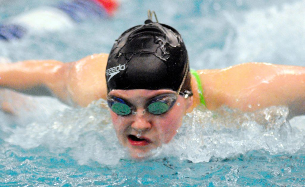 Cony's Talia Jorgensen practices the butterfly stroke during last season at the Kennebec Valley YMCA in Augusta.