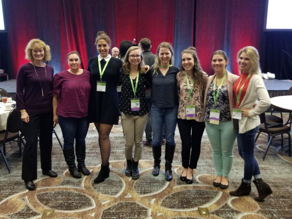 Seven Thomas College students and their professor recently attended the National Council of Teachers of English conference in Missouri. From left are Karen Laney, Nicole Duncan, Sydni Collier, Abbie Morgan, Katie Rybakova, Ashlea Gerbino and Alexis Lane, Elementary Education.