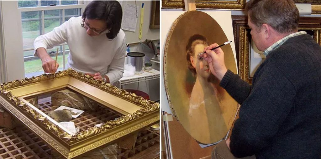 Art restorers Teresa, left, and Peter Fogg at work.