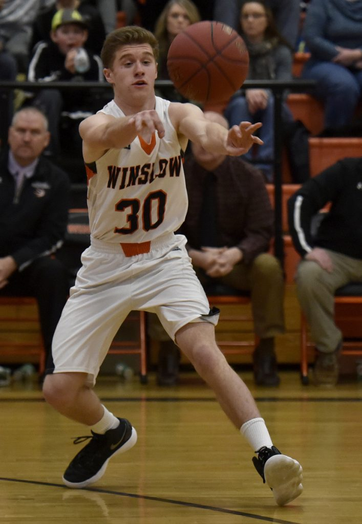Winslow's Isaiah Goldsmith passes the ball during a Kennebec Valley Athletic Conference game against Skowhegan on Tuesday in Winslow.