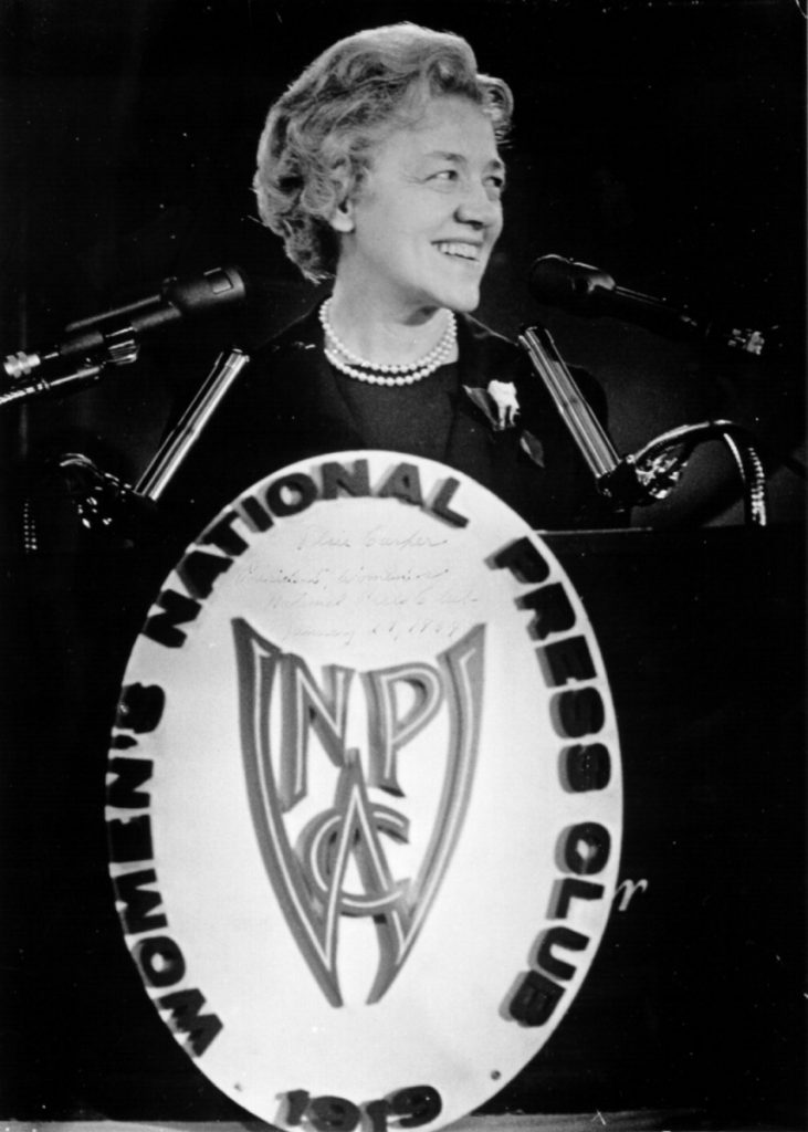 U.S. Sen. Margaret Chase Smith, of Skowhegan, announces her candidacy for president of the United States on Jan. 27, 1964. Later that year, she became the first woman whose name was placed in nomination for president by a major political party at its national convention. Her announcement was made before the Women's National Press Club in Washington, D.C.
