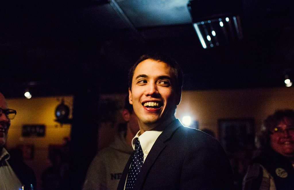Lewiston mayoral candidate Ben Chin reacts to applause at an event in 2015.