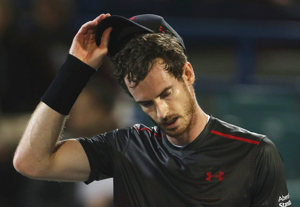 Great Britain's Andy Murray reacts after losing a match to Spain's Roberto Bautista Agut during the Mubadala World Tennis Championship in Abu Dhabi, on Dec. 29, 2017.