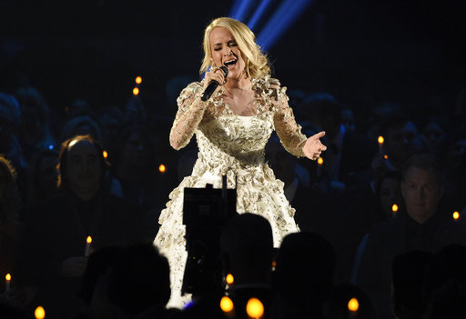 Carrie Underwood performs during the annual CMA Awards in Nashville on Nov. 8, 2017 – just before she took a serious fall at her home.