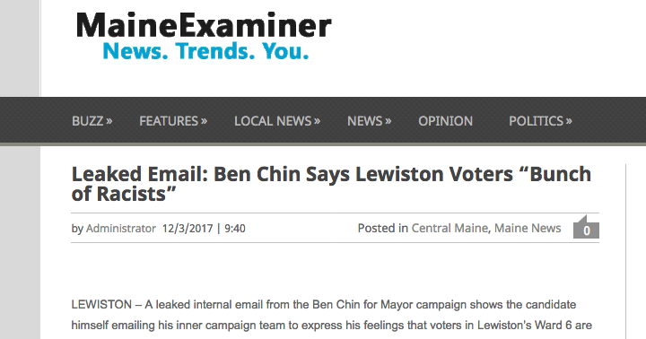 This image shows the online posting from a conservative website that attacked Lewiston mayoral candidate Ben Chin.