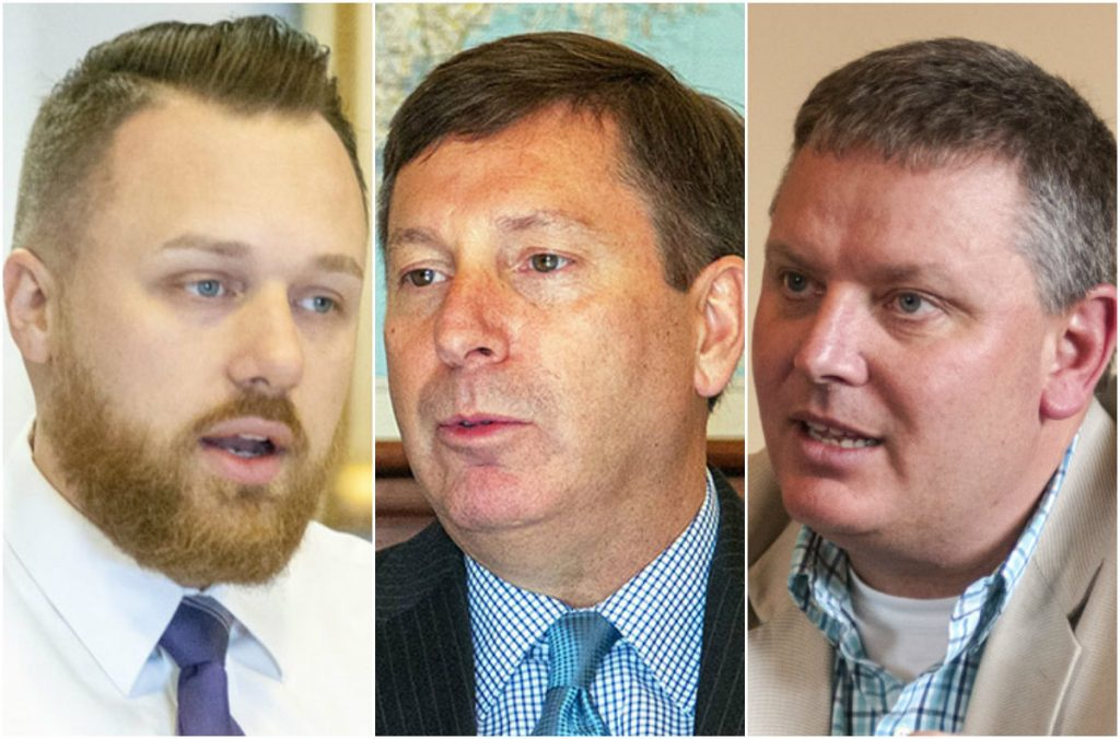 Senate Majority Leader Garrett Mason, left, House Republican leader Ken Fredette, center, and Senate President Mike Thibodeau, candidates for governor, said they would move ahead with a new law that allows pharmacies to sell naloxone over the counter. Republican Gov. Paul LePage has delayed implementation of the law.