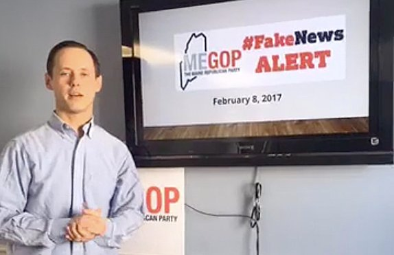 "Maine Republican Party Executive Director Jason Savage delivering a ""Fake News Alert""  in 2017 discussing a story his party thought failed to meet the standards of good journalism."