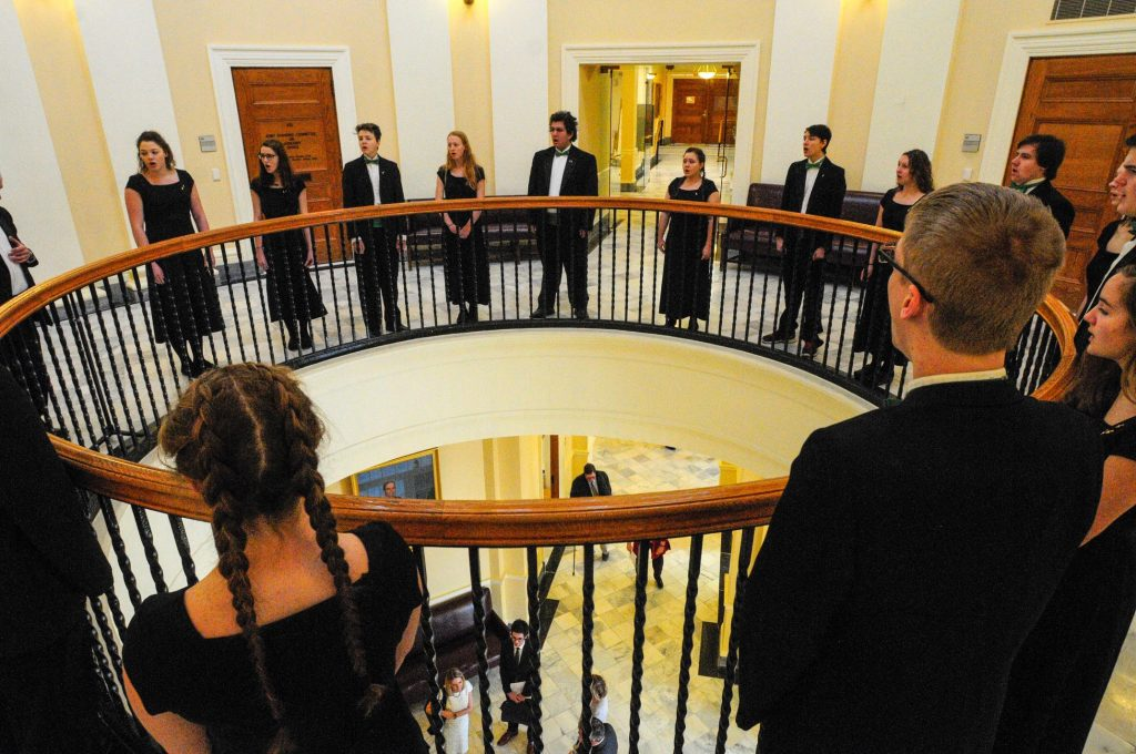 The Mount View Chamber Singers perform before the start of the first day of the second session on Wednesday at the State House in Augusta. The high school group was there from Thorndike to perform the National Anthem in the House.