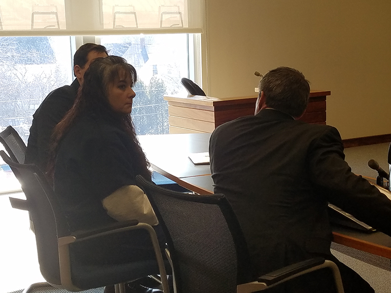 Shawna Gatto during a hearing Thursday in Knox County Unified Court flanked by defense attorneys Philip Cohen, right, and Jeremy Pratt, left.