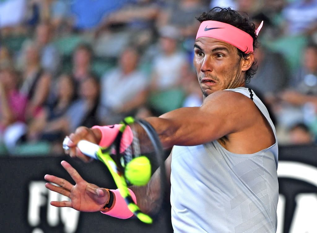 Spain's Rafael Nadal makes a forehand return to Argentina's Leonardo Mayer during their second round match at the Australian Open tennis championships in Melbourne Wednesday.