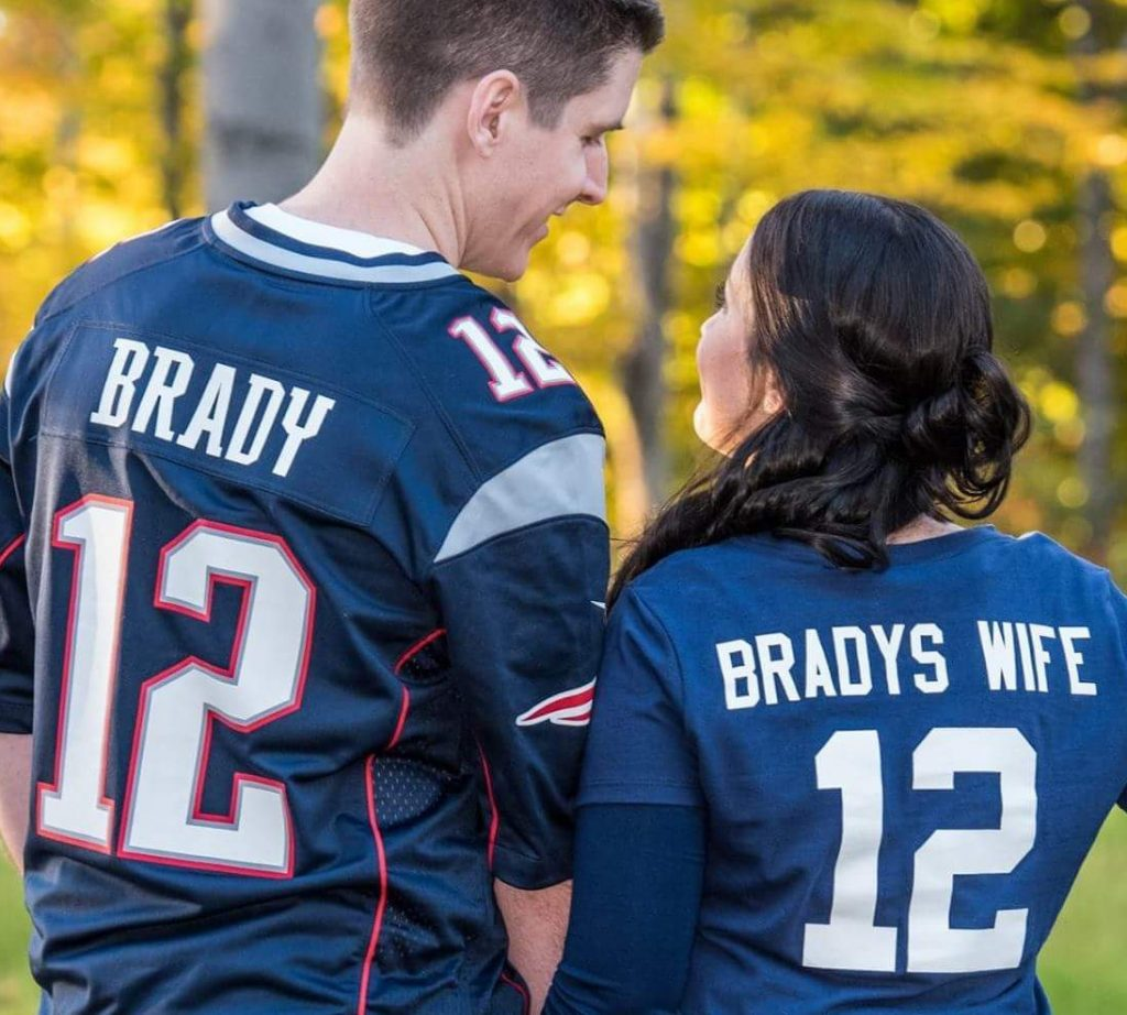 Tom Brady and Samantha, his wife. He grew up in Sherman, Maine, and says he is proud to share a name with TB12.