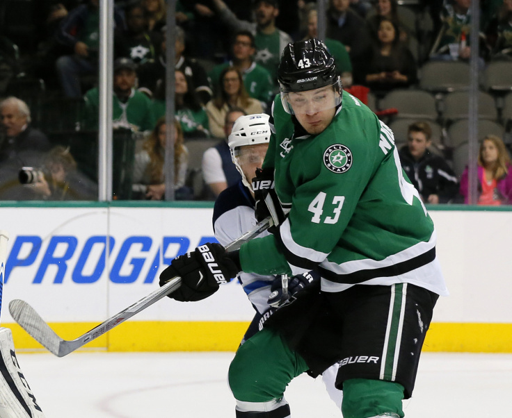 FILE - In this Feb. 25, 2016, file photo, then Dallas Stars' Valeri Nichushkin (43) of Russia plays against the Winnipeg Jets during an NHL hockey game in Dallas. Six-time Olympic gold medalist Viktor Ahn and three former NHL players, including Nichushkin, are among 32 Russian athletes who filed appeals Tuesday, Feb. 6, 2018, seeking spots at the Pyeongchang Olympics. (, File)