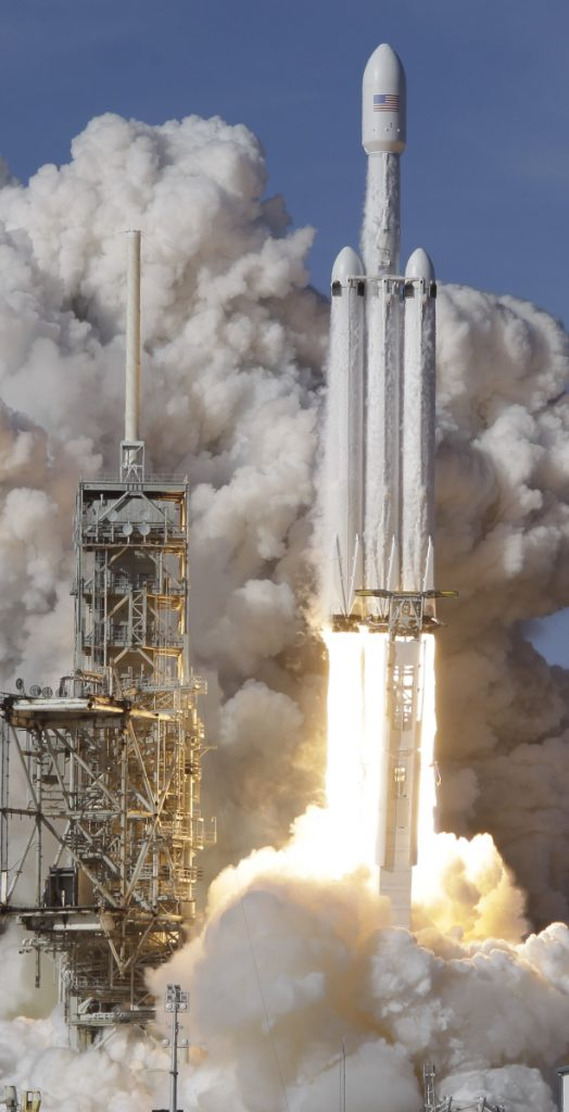 A SpaceX Falcon Heavy rocket lifts off from the Kennedy Space Center in Cape Canaveral, Fla., on Tuesday.