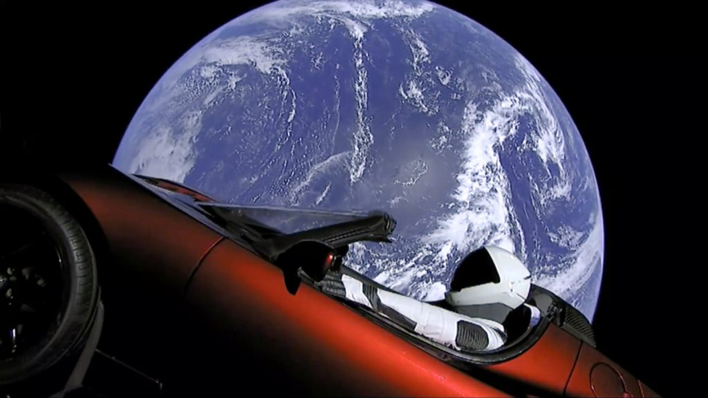 This image from video provided by SpaceX shows the company's spacesuit in Elon Musk's red Tesla sports car that was launched into space during the first test flight of the Falcon Heavy rocket on Tuesday.