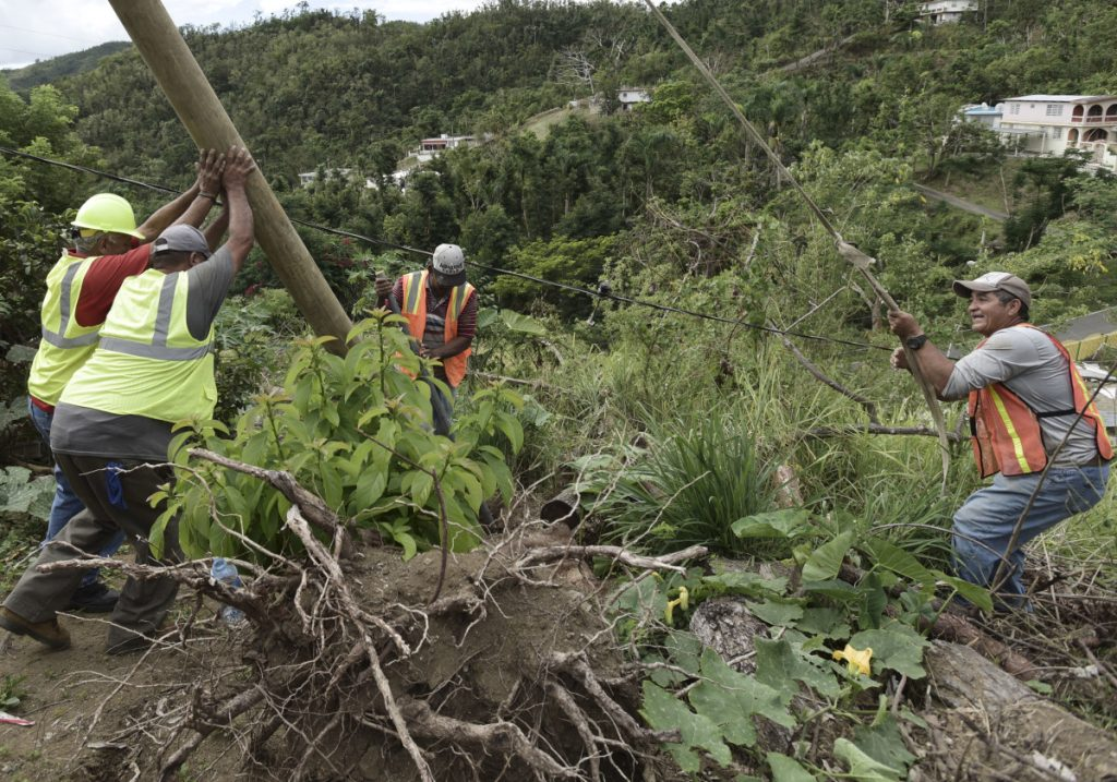 Four months after  Hurricane Maria hit Coamo, Puerto Rico, a public works official, in hardhat at left, and others install a power pole. Volunteers and municipal workers have installed more than 60 poles in Coamo.