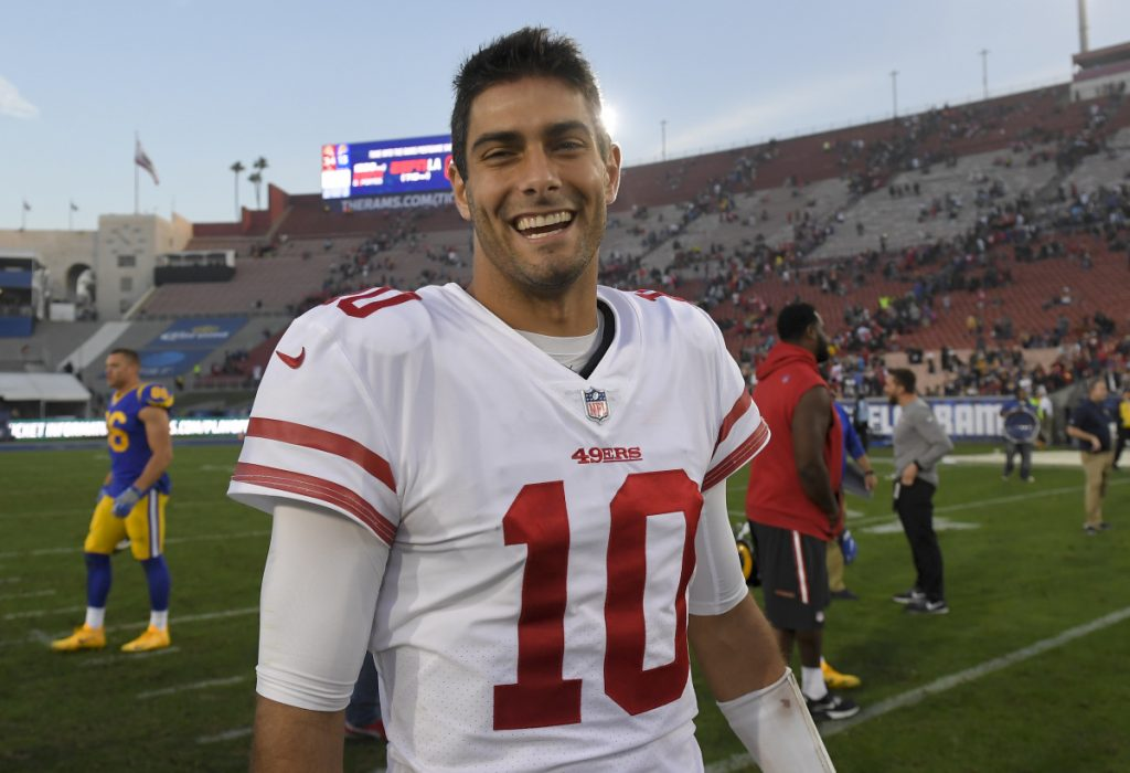 Jimmy Garoppolo, who went 5-0 as San Francisco's starting quarterback after being traded from the Patriots, is now the NFL's highest-paid player after agreeing to a contract that will pay an average of $27.5 million per year.