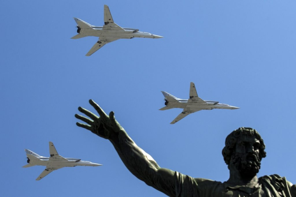 Long-range bombers fly by during a Victory Day military parade in Moscow in 2016. An ally of President Vladimir Putin says it appears that a renewed arms race could develop.