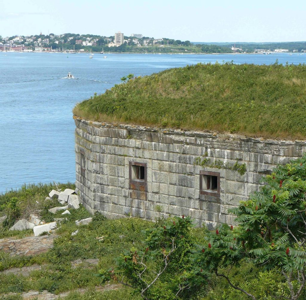 Photo shows Fort Scammel's West Bastion. Portland's Historic Preservation Board will review plans for a 21-site campground at the fort on House Island.
