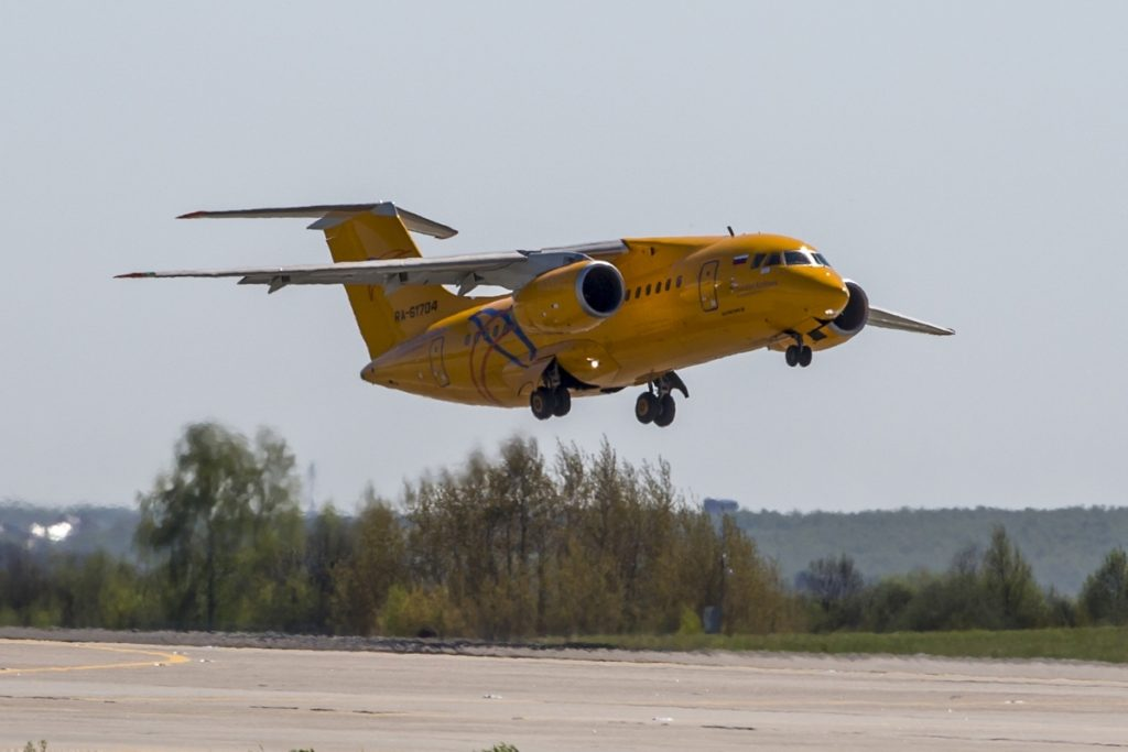 The Russian Saratov Airlines airline plane An-148 with a tail number of RA-61704 is seen on an airstrip of Moscow's Domodedovo international airport outside Moscow last May.