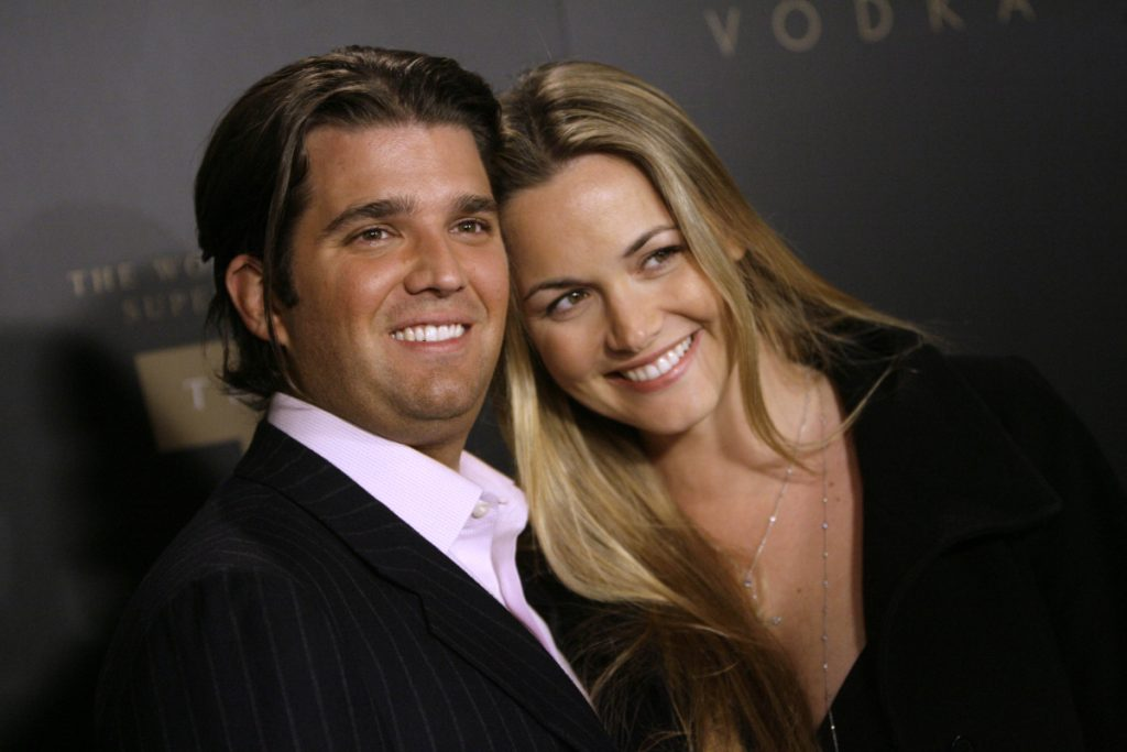 Donald Trump Jr., left, and his wife Vanessa arrive for the Trump Vodka launch party in 2007. Vanessa Trump was taken to a New York City hospital as a precaution Monday after she opened an envelope addressed to her husband that contained an unidentified white powder, police said.