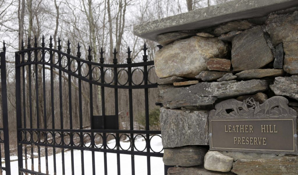 An iron gate guards the entrance to Leather Hill Preserve in Wingdale, N.Y. A company tied to Donald Trump Jr. and Eric Trump owns the 171-acre hunting preserve,
