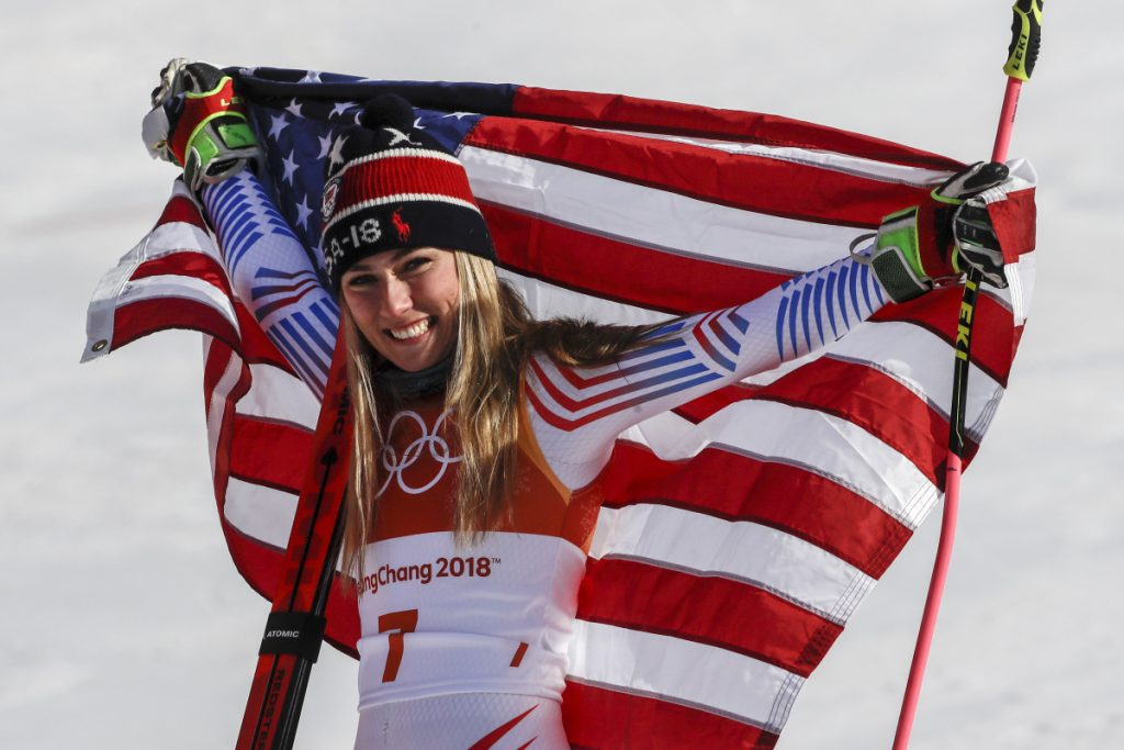 Mikaela Shiffrin, of the United States, celebrates her gold medal for giant slalom on Thursday.