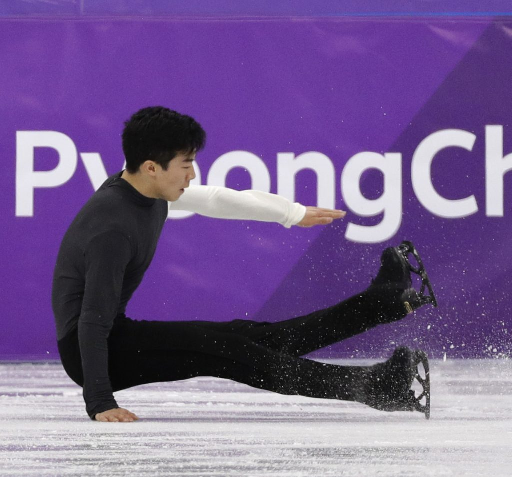 Nathan Chen ended up on the ice while performing during the men's short program in figure skating – symbolic of the fall that U.S. athletes have taken during these Winter Games.