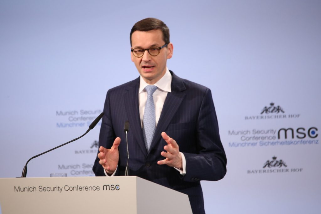 "Polish Prime Minister Mateusz Morawiecki speaks at the Munich Security Conference. Israeli Prime Minister Benjamin Netanyahu called his recent comments ""outrageous."""