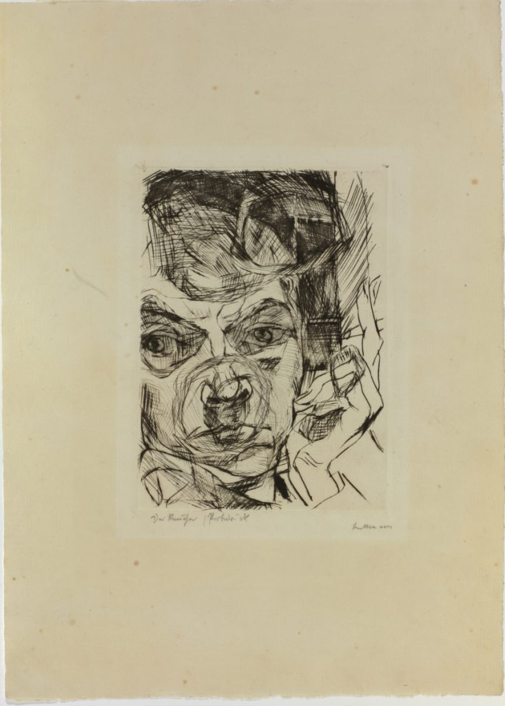 """Die Raucher (The Smoker),"" Max Beckmann, 1916. Drypoint on chamois laid paper, 13   x 10 in. (34.9 x 25.4 cm) Colby College Museum of Art. The Norma Boom Marin Collection of German Expressionist Prints, 2017.439. © 2018 Artists Rights Society (ARS), New York / VG Bild-Kunst, Bonn"
