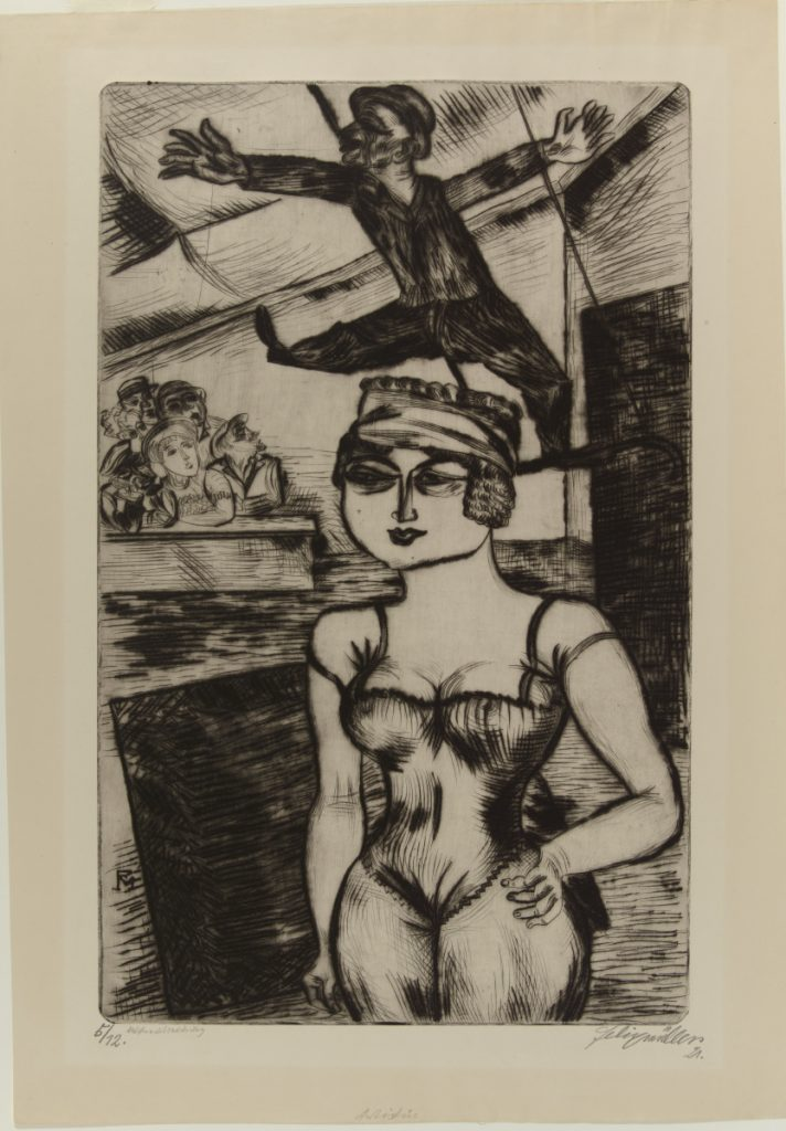 """Artistin (Circus Performers),"" Conrad Felixmüller, 1921. Drypoint, 21½ x 13½ in. (54.6 x 34.3 cm). Colby College Museum of Art. The Norma Boom Marin Collection of German Expressionist Prints, 2017.449. © 2018 Artists Rights Society (ARS), New York / VG Bild-Kunst, Bonn"