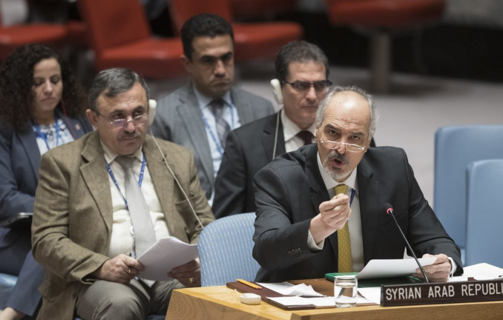 Syrian Ambassador to the United Nations Bashar al-Ja'afari speaks Thursday during a Security Council meeting at the United Nations on the situation in Syria.