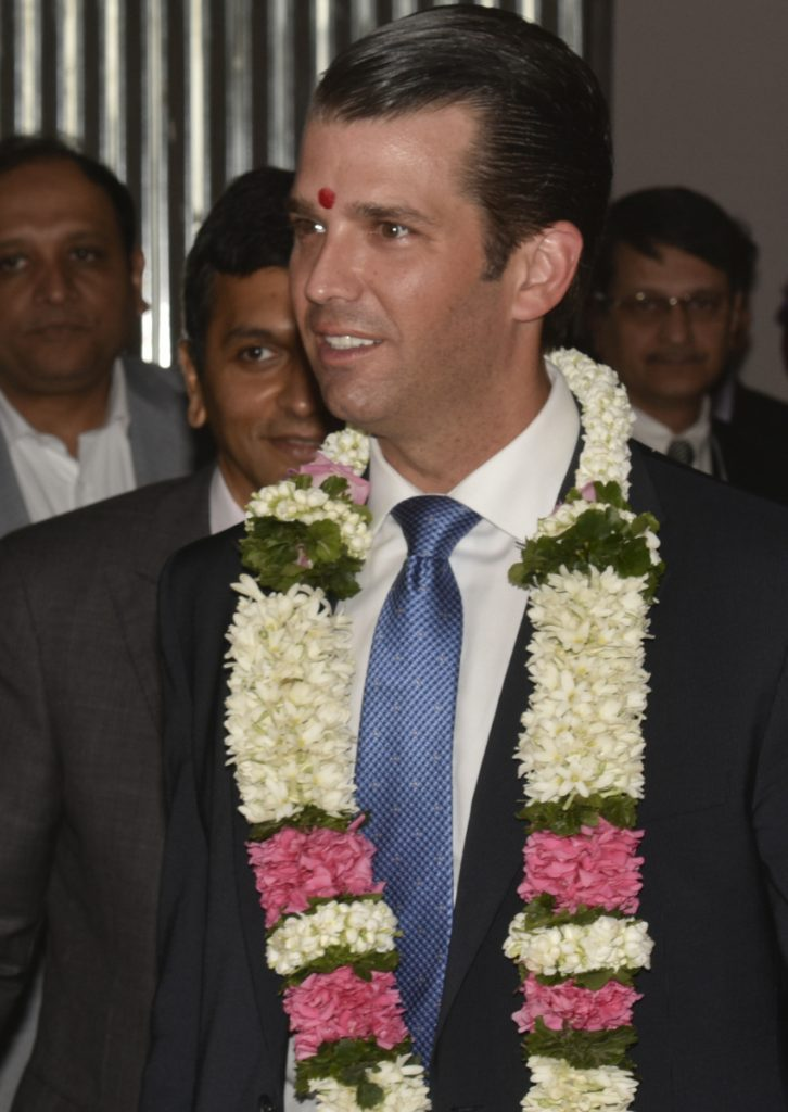 Donald Trump Jr., President Trump's eldest son, attends an event at the Trump Tower in Mumbai, India, Thursday.