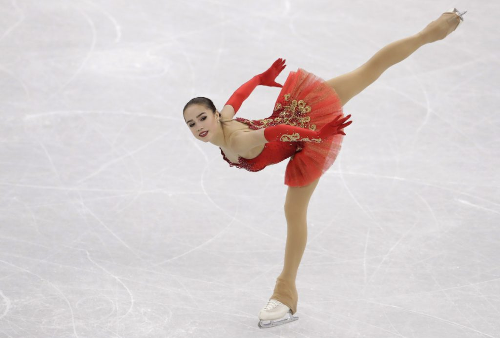 Alina Zagitova of the Olympic Athletes of Russia performs during the women's free figure skating final in the Gangneung Ice Arena at the 2018 Winter Olympics in Gangneung, South Korea, Friday, Feb. 23, 2018. (AP Photo/Petr David Josek)