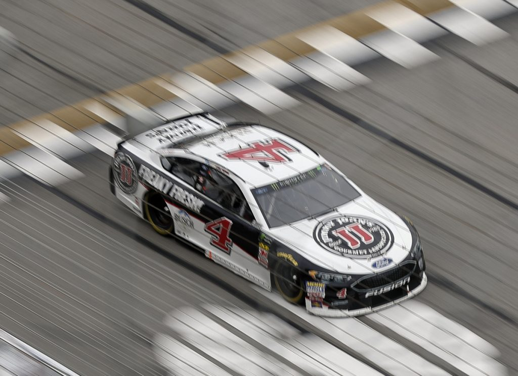 Kevin Harvick crosses the start finish line during the NASCAR Cup Series race at Atlanta Motor Speedway on Sunday in Hampton, Ga.
