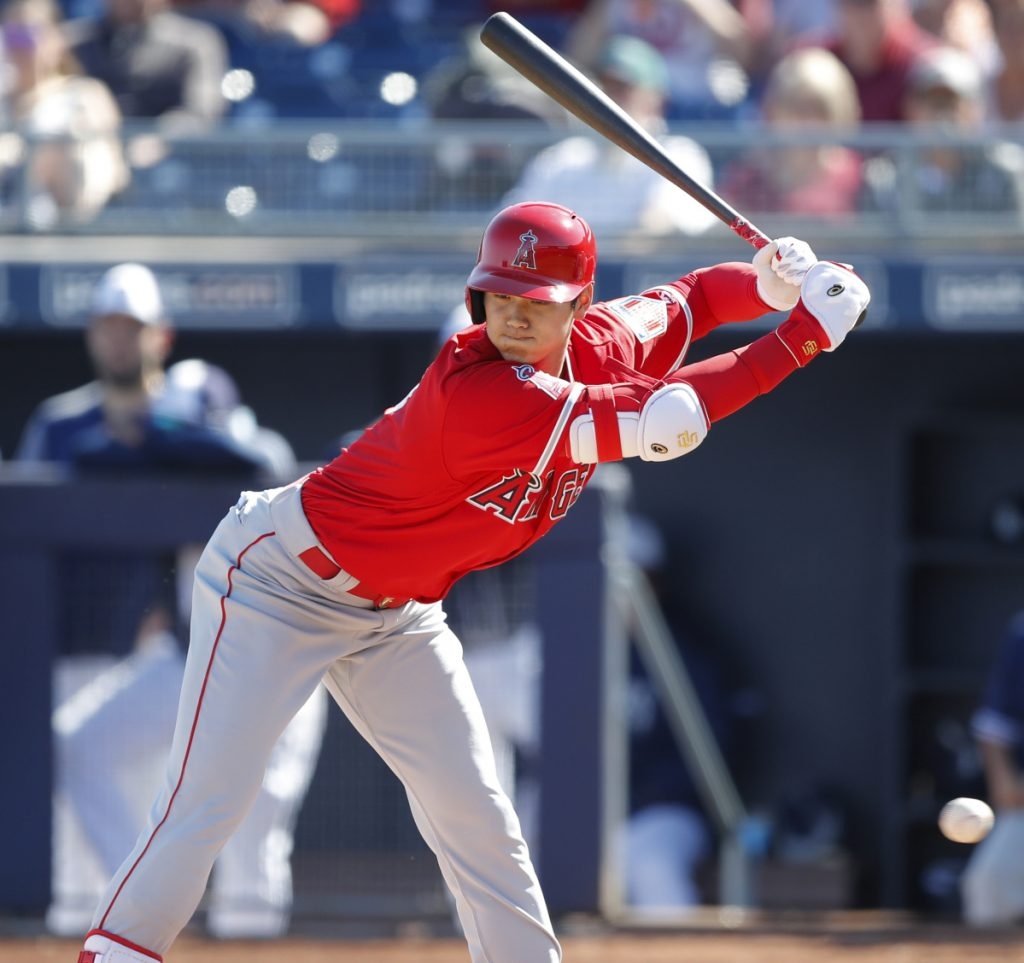 Los Angeles rookie Shohei Ohtani walked twice and had an RBI single against San Diego in his first spring training game as a hitter, Monday in Peoria, Ariz.