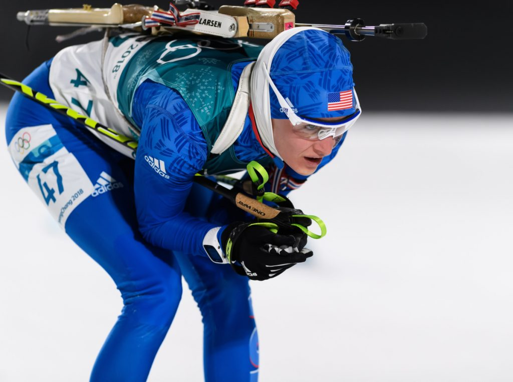 Clare Egan opened the Olympics with the 7.5K biathlon sprint. Three minutes into the race, she tumbled at the bottom of a steep hill and it cost her a chance to advance.
