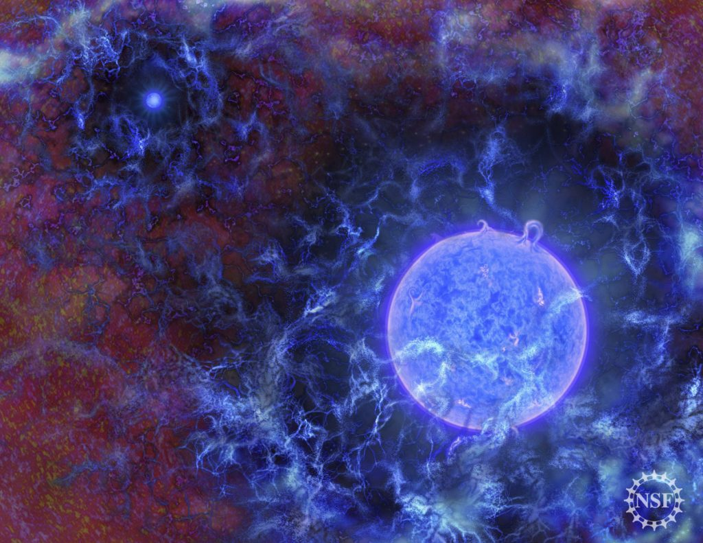 This image provided by the National Science Foundation shows a rendering of how the first stars in the universe might have looked. Scientists have detected a signal from 180 million years after the Big Bang when the earliest stars began glowing.