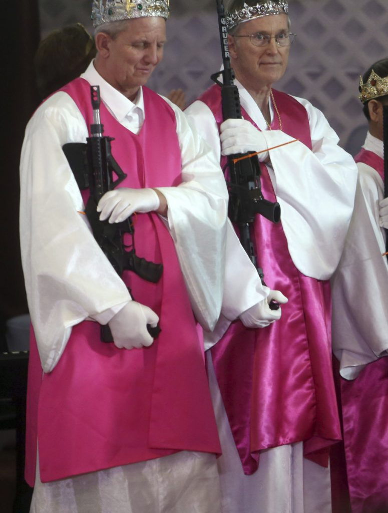 AR-15 assault rifles were specifically invited to a commitment ceremony Wednesday at a church where they are regarded as a biblical