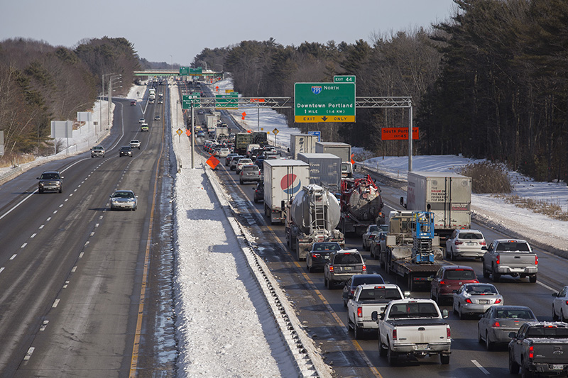 Traffic backed up on I-95 North after a four-car crash around 10 a.m. near Exit 42 and Exit 44 on the Maine Turnpike in Scarborough.
